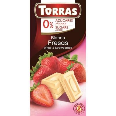 White chocolate with strawberries 75g